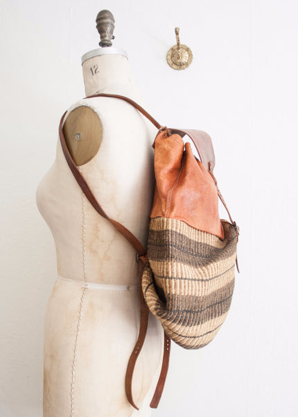 African Cognac Leather Sisal Backpack