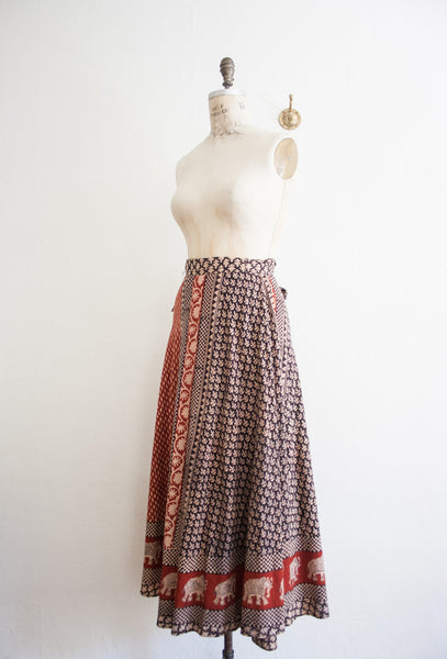 Indian Block Print Maxi Wrap Skirt