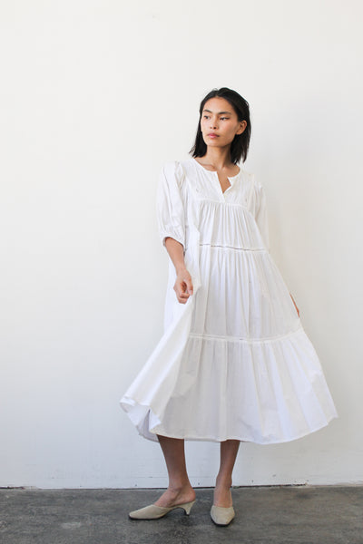 1980s White Cotton Tiered Dress