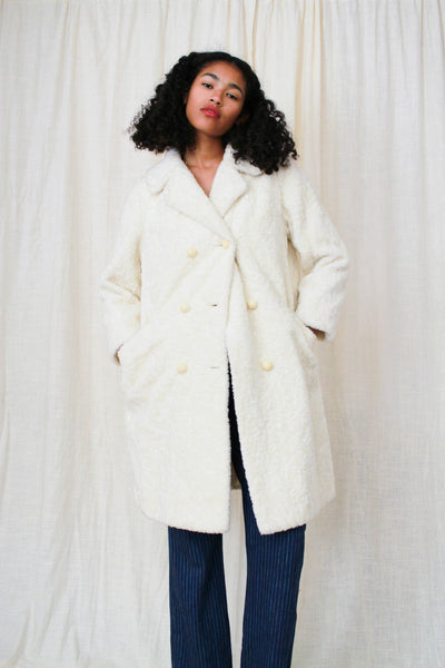1950s Cream White Teddy Fur Coat