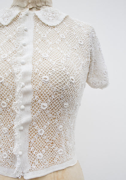 1940s Crochet Knit Blouse