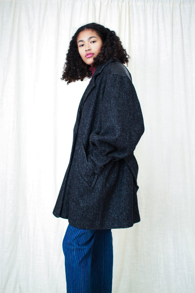 1980s Black Speckled Wool Leather Coat