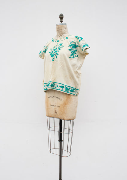 1960s Turquoise Mexican Embroidered Tunic