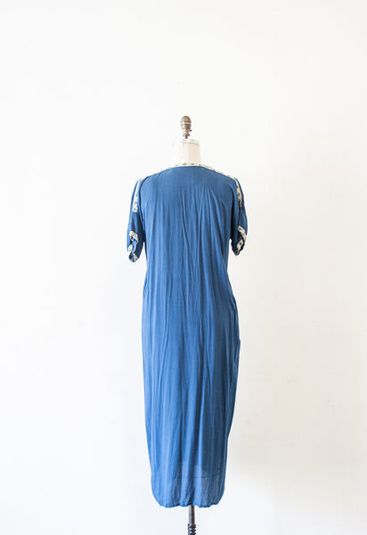 Moroccan Embroidered Sapphire Dress