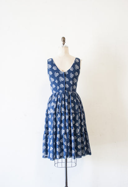 Blue Floral Ruffled Dress