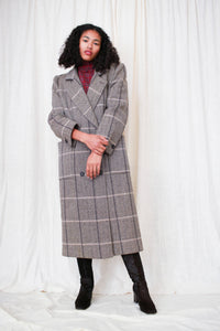 1970s Houndstooth Plaid Wool Structured Coat