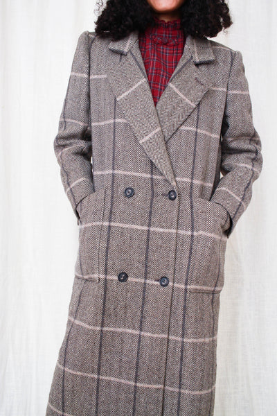 1970s Herringbone Tweed Wool Structured Coat