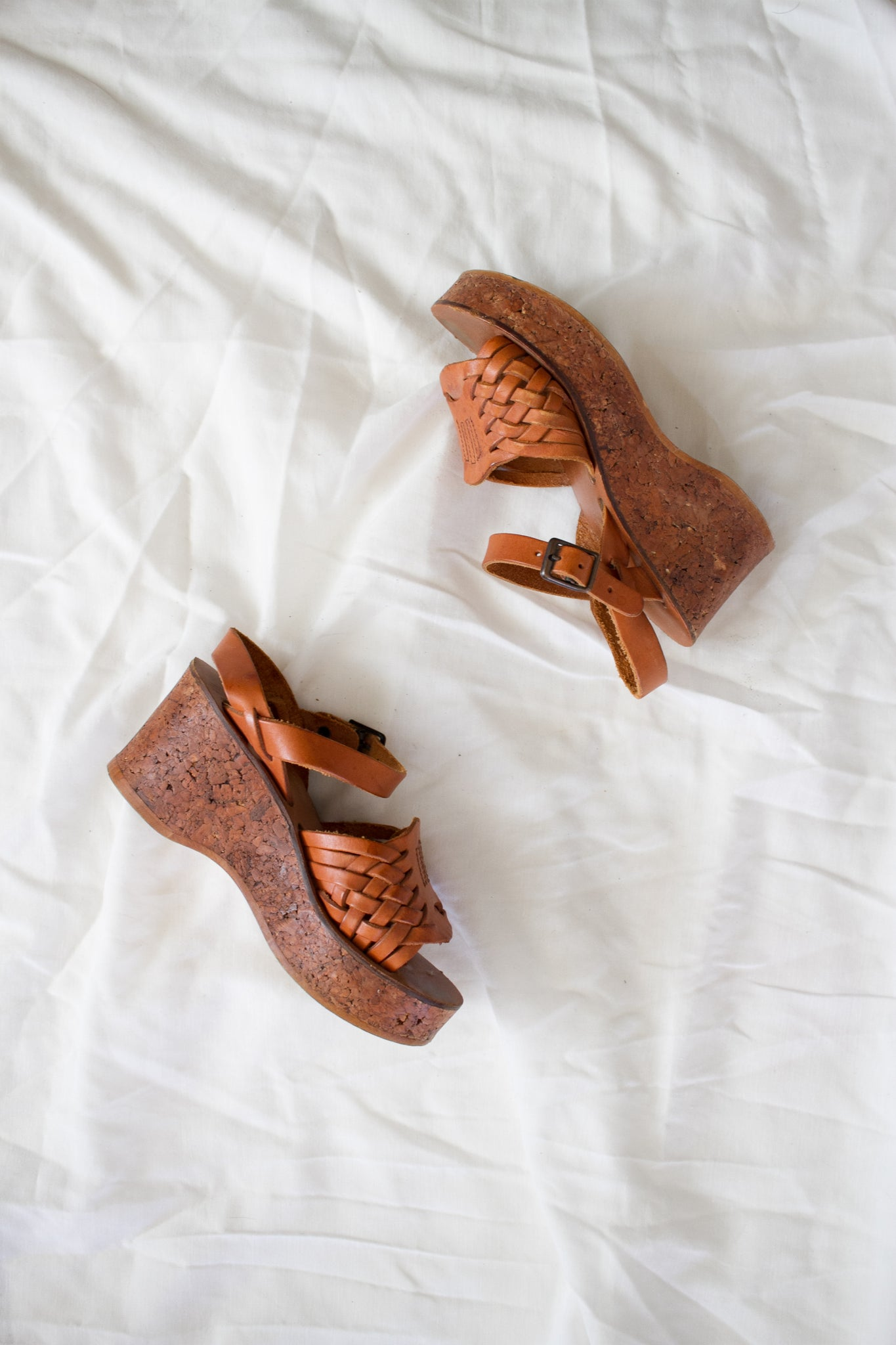 1960s Braided Woven Leather Wedges | 5