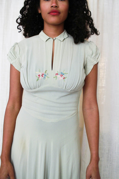 1940s Mossy Green Crepe Embroidered Dress