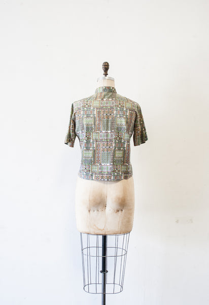 Seagreen Tile Print Button Up Blouse