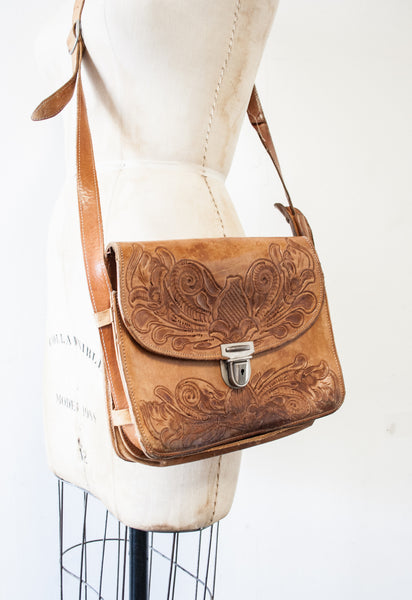 Tooled Leather Shoulder Bag