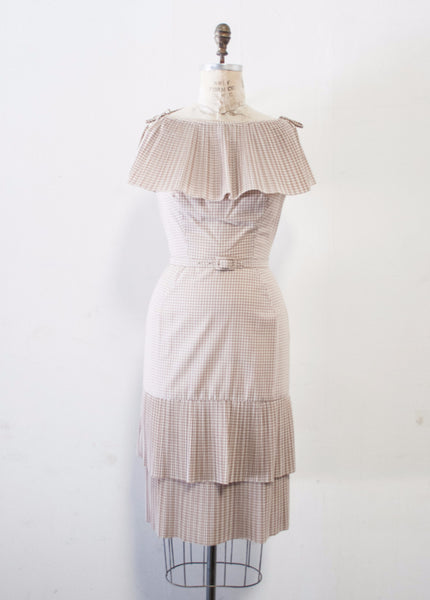 Beige Gingham Accordion Pleated Dress