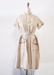 Beige Silk Embroidered Two Piece Tina Leser Set