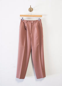 Plum Virgin Wool Tapered Trousers
