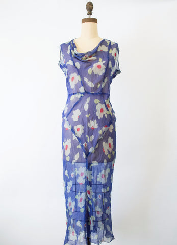 1930s Blue Floral Print Chiffon Dress