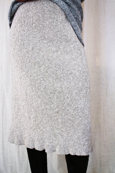 1970s Beige Speckled Ribbed Woven Skirt