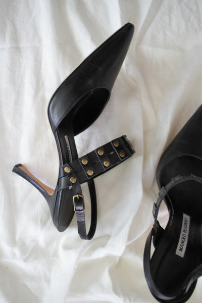 1980s Black Leather Stud Manolo Blanik Kitten Mules | 9.5