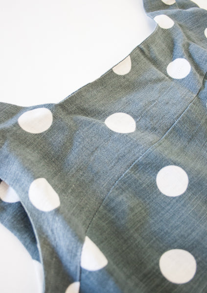Slate Grey Linen Polka Dot Dress