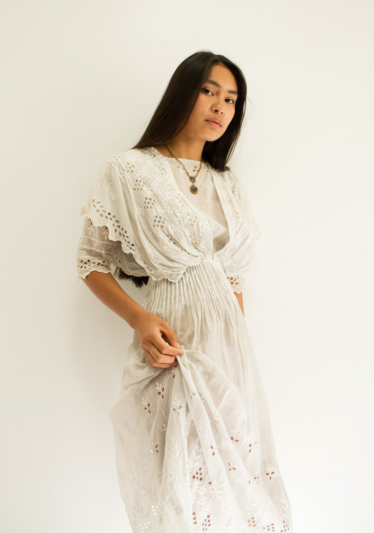 Edwardian Cotton Eyelet Lawn Dress