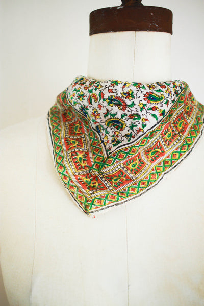 1970s Indian Silk Paisley Print Scarf