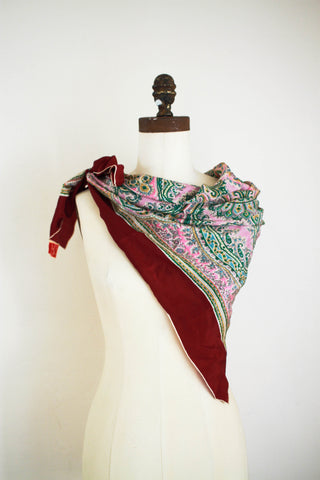 1940s Hand-Rolled Silk Berry Paisley Scarf