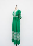 Kelly Green Embroidered Guatemalan Maxi Dress