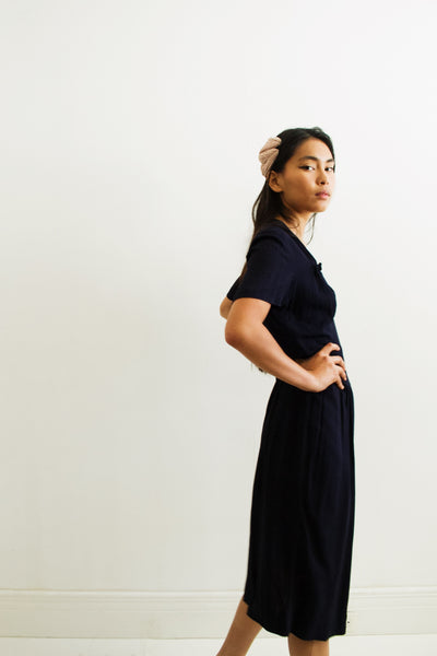 1940s Midnight Maraud Crepe Dress