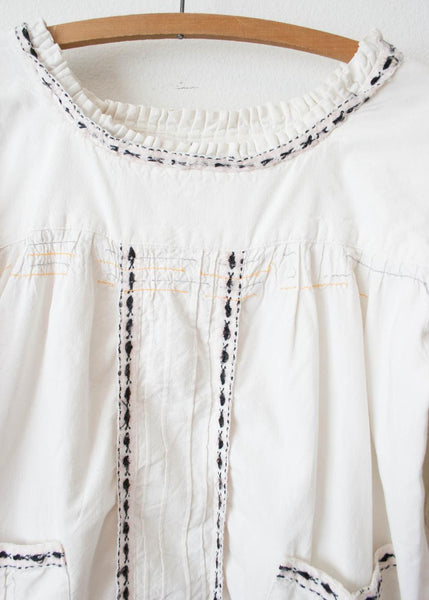 White Cotton Multicolored Trim Tunic