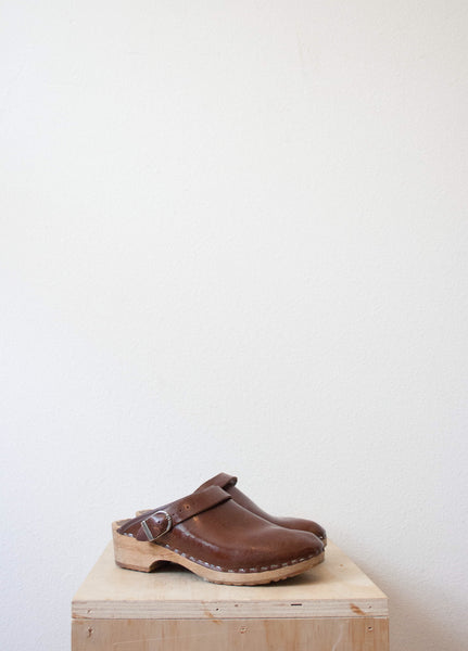 Chocolate Leather Wooden Clogs | Size 7