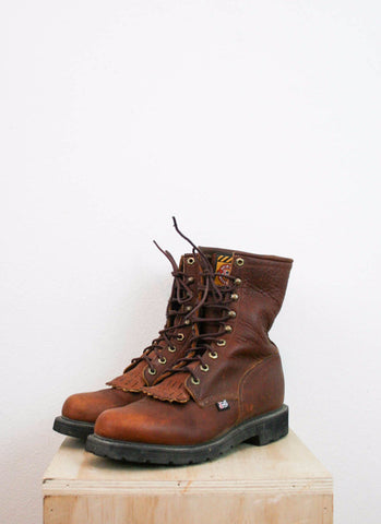 Men's Justin Brown Leather Original Work Boots | Sz 8 1/2