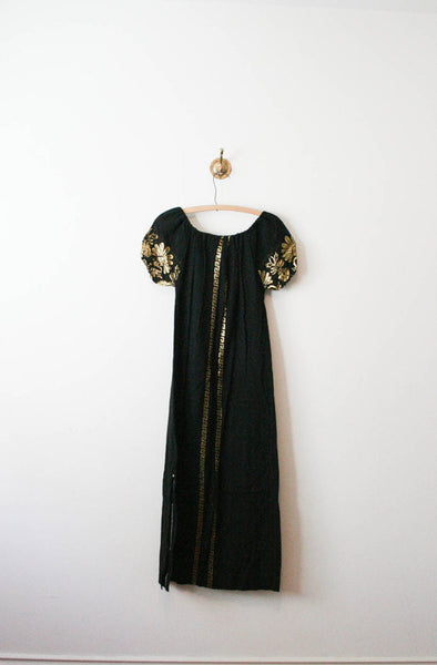 Black Gold Leaf Embroidered Peasant Dress | Reserved