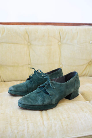 1980s Hunter Green Suede Shoes | 7.5