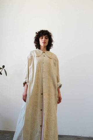 1930s Cream Collared Embroidered Duster Coat