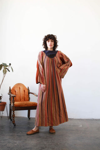 1930s Woven Striped Cloak Dress