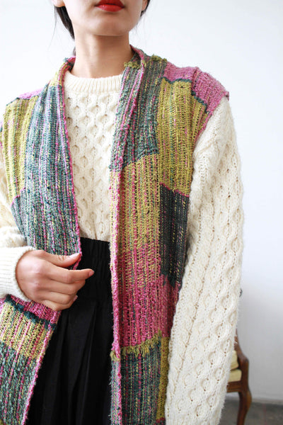 1980s Hand-Loomed Knit Duster