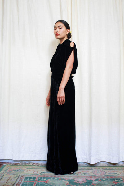 1930s Black Noir Pan Velvet Bias Gown