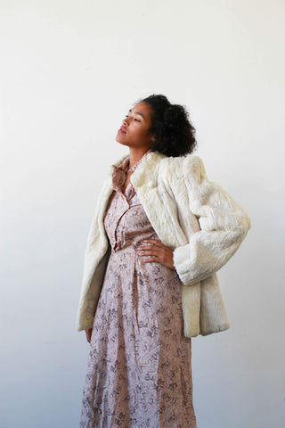 1960s Soft Snow Rabbit Fur Coat