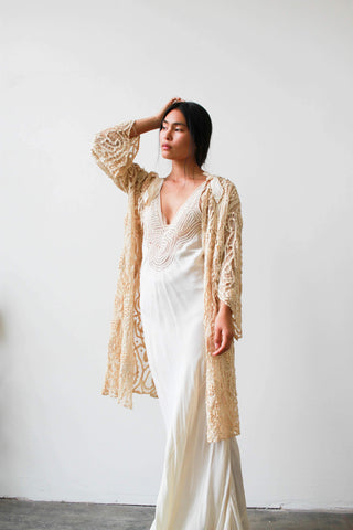 1910s Cream Irish Crochet Knit Duster