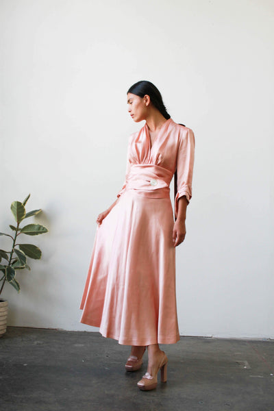 1940s Ballet Pink Satin Party Dress