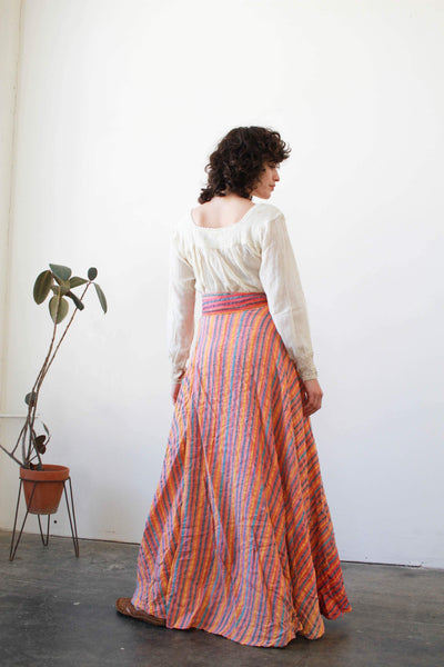 1970s Deadstock Indian Cotton Striped Wrap Skirt