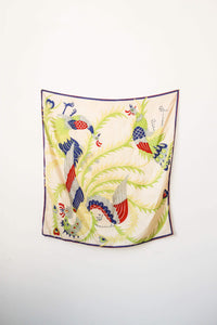1920s Pongee Silk Rooster Print Scarf