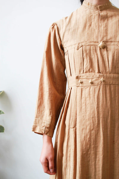 Edwardian Camel Woven Cotton Pleated Dress