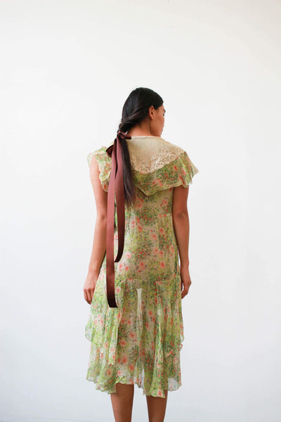 1920s Green Floral Print Chiffon Silk Dress