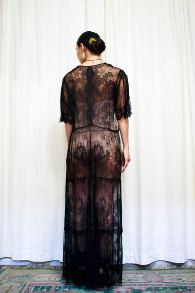 Antique Rare Black Chantilly Lace Dress