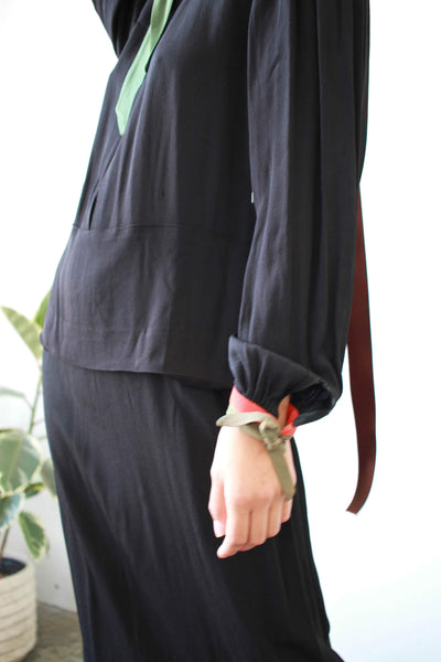 1930s Black Crepe Collared Dropwaist Dress
