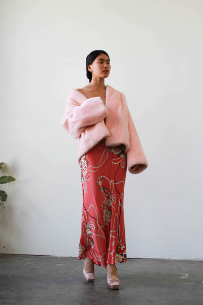 1960s Pink Faux Teddy Coat