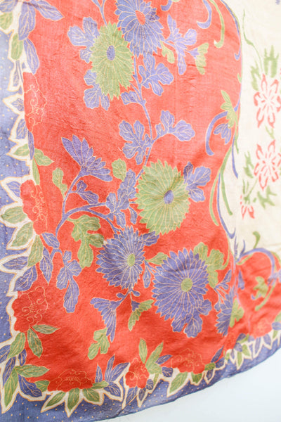 1920s Pongee Silk Floral Scarf