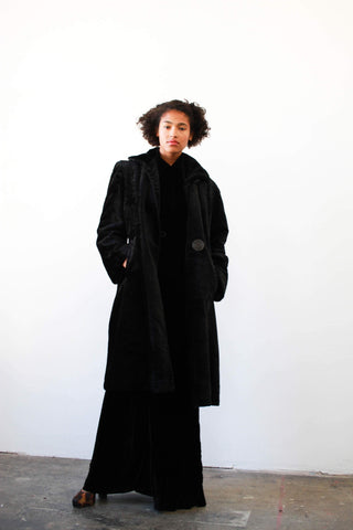 1920s Black Short-Haired Fur Coat