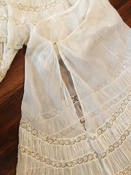 Edwardian Ruffled Ecru Cotton Voile Set
