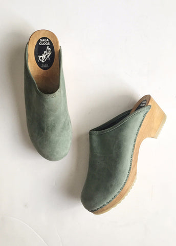 Mint Suede Wooden Clogs | 9